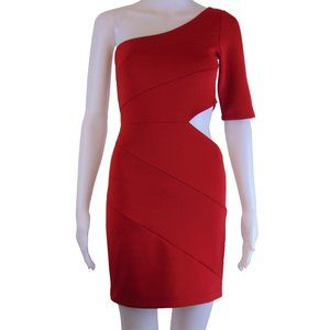 Red One Shoulder Peek a Boo Side Bodycon Dress S